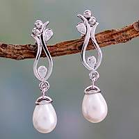 Cultured pearl dangle earrings, 'Morning Cloud' - Artisan Made White Cultured Pearl Earrings