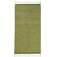 Zapotec wool rug, 'Verdant Hillside' (2.5x5) - Mexican Handwoven Green 2.5 x 5 Authentic Zapotec Rug