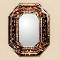 Mirror, 'Earth Garden' - Andean Colonial Style Reverse Painted Glass Wall Mirror