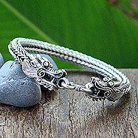 Sterling silver braided bracelet, 'Fierce Dragons' - Sterling silver braided bracelet