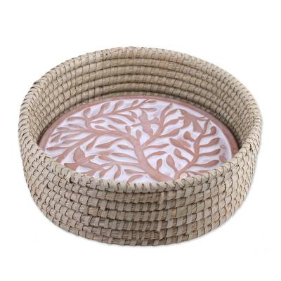 Ceramic and natural fiber bread warmer, 'Giving Tree' - Tree of Life Design Ceramic and Natural Fiber Bread Warmer