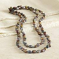 Cultured pearl long strand necklace, 'South China Sea' - South China Pearl Necklace