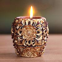 Candle, 'Floral Vase' (3.9 inch) - Hand Crafted Gold and Russet Accent Candle (3.9 Inch)