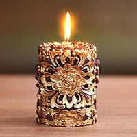 Pillar candle,'Floral Pillar' (3 inch) - Floral Carved Pillar Candle in Gold and Russet (3 Inch)