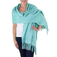 Cotton shawl, 'Sweet Mint' - Backstrap Loom Handwoven Green Cotton Shawl from Guatemala