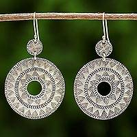 Silver dangle earrings, 'Karen Sunshine' - Handmade Karen Silver Dangle Earrings from Thailand