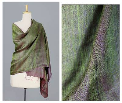 Reversible silk shawl, 'Persian Olive' - Artisan Crafted Indian Women's Silk Striped Shawl