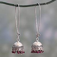 Garnet dangle earrings, 'Grand Tradition' - Indian Style Garnet and Sterling Silver Earrings