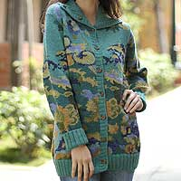 100% alpaca cardigan, 'Illusion' - Women's Floral Alpaca Wool Art Knit Teal Cardigan