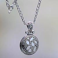 Sterling silver pendant necklace, 'River Stones' - Sterling Silver Necklace with Round Pendant from Bali