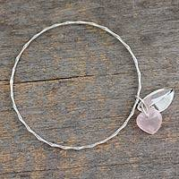 Rose quartz bangle bracelet, 'Glistening Dew' - Fair Trade Jewelry Sterling Silver Bracelet with Rose Quartz