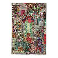 Patchwork wall hanging, 'Flowery Garden' - Colorful Recycled Patchwork Floral Wall Hanging from India