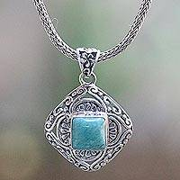Turquoise pendant necklace, 'Lotus Chic' - Turquoise and Sterling Silver Handmade Pendant Necklace