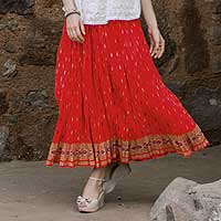 Cotton skirt, 'Royal Red Jaipur' - Crinkled Red Indian Cotton Skirt with Block Print Flowers