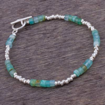 Opal beaded bracelet, 'Stylish Teal' - Opal and Sterling Silver Beaded Bracelet from Peru
