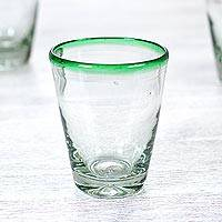 Blown glass juice glasses, 'Emerald Cone' (set of 6) - Hand Blown Juice Glasses Clear with Green Rim 9 Oz Mexico