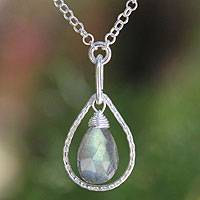 Labradorite pendant necklace, 'Smile' - Handmade Labradorite Pendant Necklace