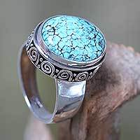 Turquoise cocktail ring, 'Heavenly' - Handcrafted Balinese Silver Natural Turquoise Ring