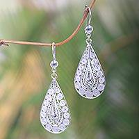 Sterling silver filigree earrings, 'Sukawati Dewdrops' - Balinese Sterling Silver Filigree Earrings Crafted by Hand