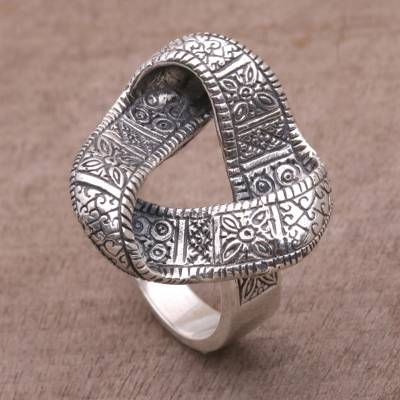 Sterling silver cocktail ring, 'Infinity Songket' - 925 Sterling Silver Infinity Cocktail Ring from Bali