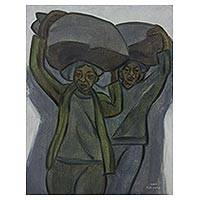 'Carrying Sacks' - Grey and Green Signed Oil Painting of Balinese Women