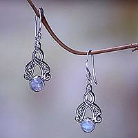 Rainbow moonstone dangle earrings, 'Delicate Radiance' - Bali Fair Trade Silver Earrings with Rainbow Moonstone