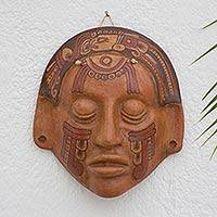 Ceramic mask, 'Maya Glyphs' - Collectible Ceramic Mask from Central America