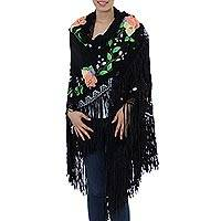 Cotton applique shawl, 'After Midnight in Puebla' - Hand Painted Signed Artisan Crafted Black Floral Shawl