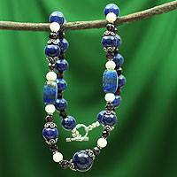 Lapis lazuli and pearl strand necklace, 'India Sky' - Lapis lazuli and pearl strand necklace
