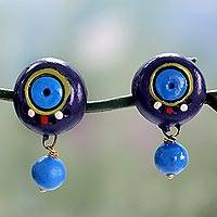 Ceramic dangle earrings, 'Indigo Harmony' - Artisan Hand Painted Blue Terracotta Dangle Earrings