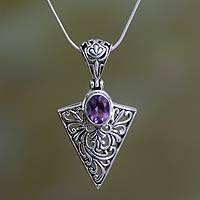 Amethyst pendant necklace, 'Love's Arrow' - Amethyst and Sterling Silver Pendant Necklace