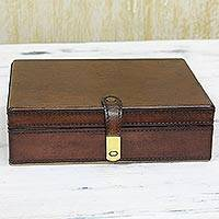 Leather jewelry box, 'Modern Fascination' - Brown Leather Jewelry Box with Mirror from India