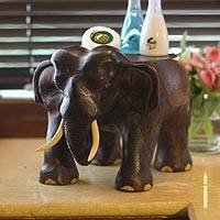 Wood stand, 'Elephant at Work' - Wood stand