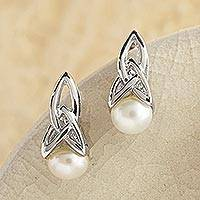 Cultured pearl drop earrings, 'Celtic Tradition' - Celtic Pearl Earring