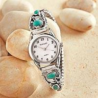 Turquoise and sterling silver watch, 'Navajo Sky' - Navajo Turquoise and Sterling Silver Watch