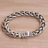 Sterling silver chain bracelet, 'Bond Strength' - Artisan Crafted Sterling Silver Chain Bracelet from Bali