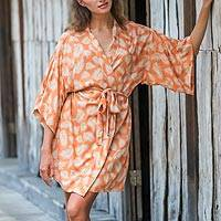 Rayon robe, 'Windy Beach in Orange' - 100% Rayon Robe Ivory and Orange from Indonesia