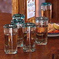 Blown glass shot glasses, 'Aquamarine' (set of 6) - Hand Blown Mexican Tequila Shot Glasses Clear Set of 6