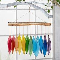 Glass windchime, 'Rainbow Dreams' - Indonesian Rainbow Glass and Driftwood Windchime