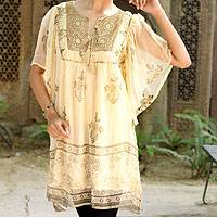 Embellished tunic, 'Jaipur Glitz' - Embellished Lined Chiffon Tunic Top with Block Prints