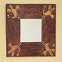 Leather mirror, 'Golden Herons' - Leather mirror