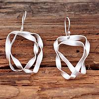 Sterling silver dangle earrings, 'Ribbon Wrap' - Hand Made Modern Sterling Silver Dangle Earrings