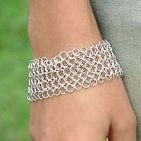 Sterling silver wristband bracelet, 'Nets in Moonlight' - Sterling Silver Link Bracelet