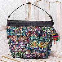 Cotton and leather accent shoulder bag, 'Nahuala Viva' - Animal Theme Shoulder Bag Handwoven Cotton and Leather