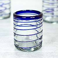 Rocks glasses, 'Cobalt Spiral' (set of 6) - Set of Six Hand Blown Recycled Rocks Glasses