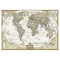 World map wall mural, 'Executive' - Large World Wall Map Mural in Earth Tones