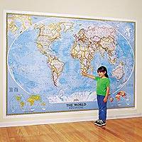 World map wall mural, 'Classic' - Large Classic World Wall Map Mural