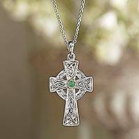 Emerald pendant necklace, 'Celtic Faith' - Celtic Cross Emerald Necklace