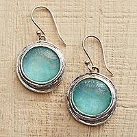 Glass dangle earrings,
