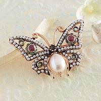 Multi-gemstone brooch, 'Treasure of the Medici' - Italian Pearl and Gemstone Butterfly Pin